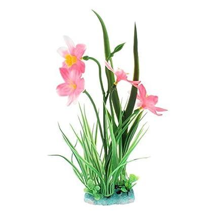 eDealMax Planta de hierba Artificial acuario de plástico Flor Paisaje Rosa Verde