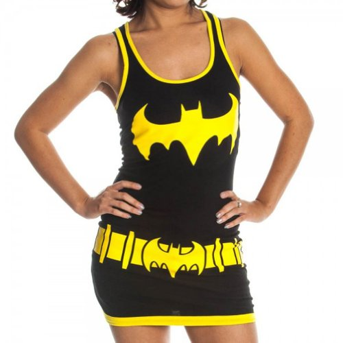 [DC Comics Batgirl Juniors Black Tank Top Dress (Juniors Small)] (Womens Tank Dress Wonder Woman Costumes)