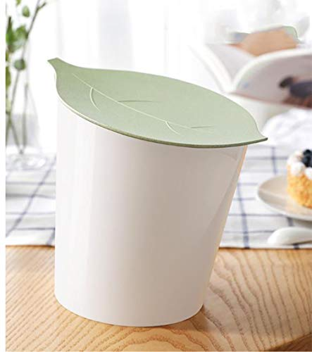 (BEIGOOED Trash Can Desktop Small Touch with Lid Round,Plastic Detachable Office Bedside Automatic Living Room Desk Countertop Small Trash Can Wastebasket Storage Bucket-A)