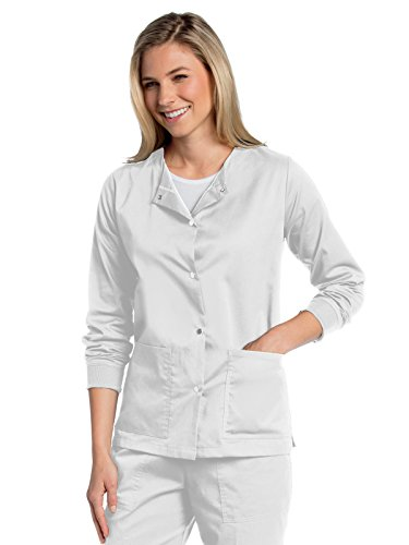 Landau All Day Women's Modern Fit Snap-Front Warm-Up Scrub Jacket White S