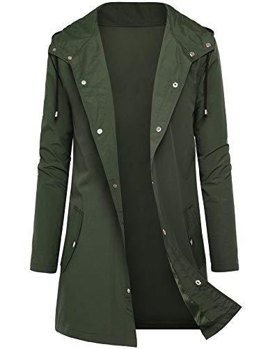 DOSWODE Men Waterproof Raincoat Hooded Windbreaker Lightweight Long Rain Jacket Active Outdoor Trench -
