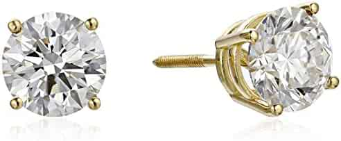 IGI Certified 18k Gold Lab Created Diamond Stud Earrings (1/2 - 4 cttw, G-H Color, VS1-VS2 Clarity)