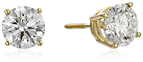 IGI Certified 18k Yellow Gold Lab Created Diamond Stud Earrings (2cttw, G-H Color, VS1-VS2 Clarity)