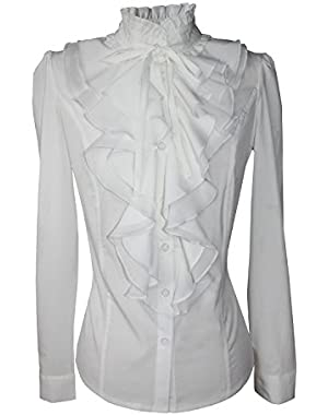 Shirts for Women Stand-Up Collar Vintage Victoria Ruffle BS02