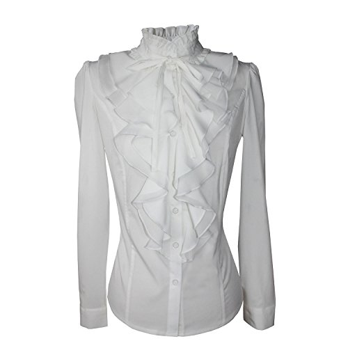 Shirts for Women Stand-Up Collar Vintage Victoria Ruffle Long Sleeve BS02 (S, BS02-White) ()