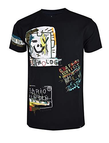 SCREENSHOTBRAND-S11907 Mens Hip-Hop Ultra Premium Tee Longline Street Graffiti Print T-Shirt-Black-3XLarge