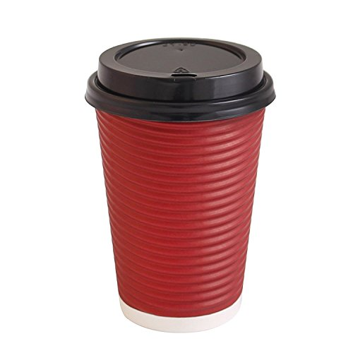 - Party Bargains Best Disposable Togo Coffee Cups with Lids | Premium Hot Paper Cup Rippled Insulation For Heat Protection Perfect for Hot Chocolate, Tea, Espresso Or Any Beverage - 16 oz | Pack of 50