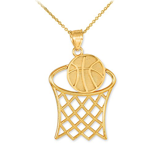Sports Charms 14k Gold Basketball Hoop Pendant Necklace, 20