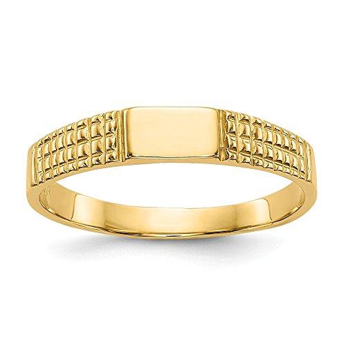 (Beautiful Yellow gold 14K 14K Baby Signet Band Ring)
