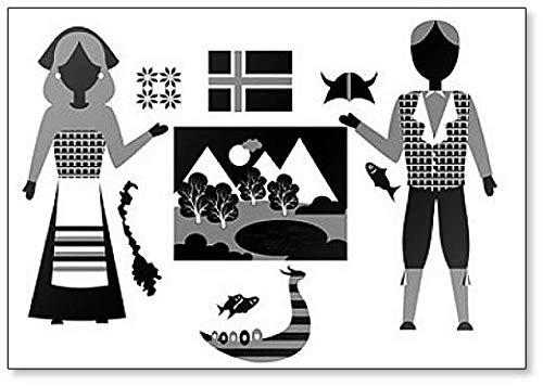 Imán para nevera con diseño de símbolos e iconos de Noruega ...