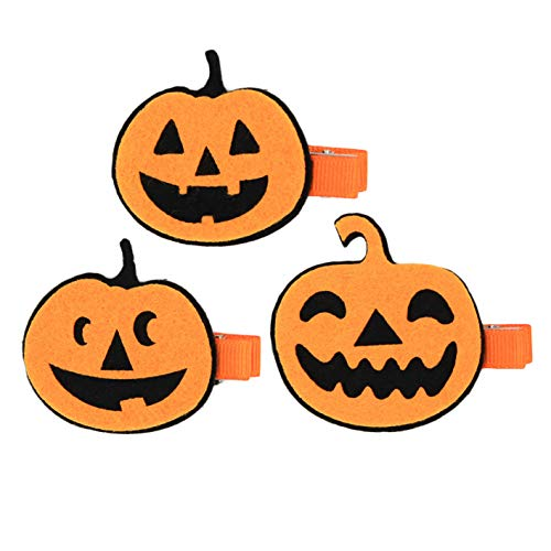 Baby Halloween Pumpkin Hairclip Girls Hair pins Kids Barrettes Hairgrips JHH18 (D-3 pcs)]()
