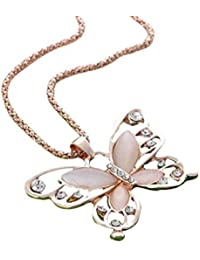 Fashion Women Rose Gold Opal Butterfly Charm Pendant Long...