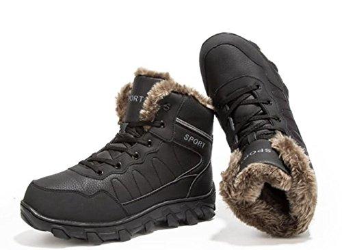 LINYI Männer Baumwolle Schuhe Große Gepolsterte Kaschmir Sport Leder Casual Business Schwarz Braun Black
