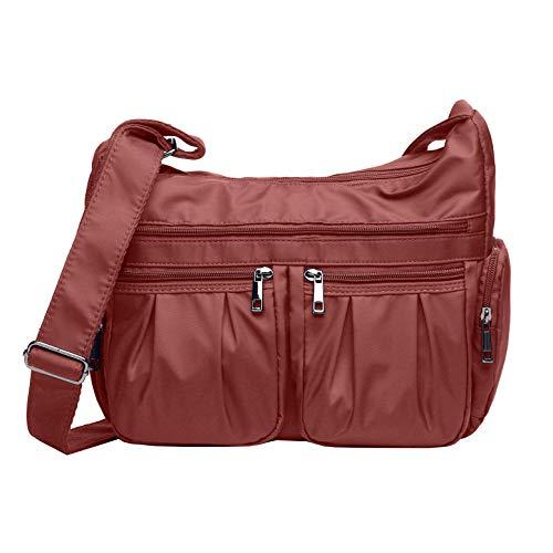 Crossbody Bags for Women, Multi Pocket Shoulder Bag Waterproof Nylon Travel Purses and Handbags (8981- Brick red) (Rocks Mom)