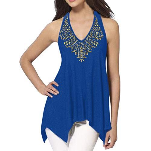 (Tantisy ♣↭♣ Women Plus Size Sleeveless V-Neck Halter Blouse Summer Casual Sequins Hem Design Loose T Shirt 3XL Blue)