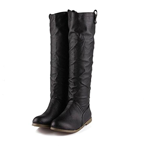 redonda mujer sólido de fondo cabeza Qxw color de plano botas de caliente cuero de Black UOOYq5Bx