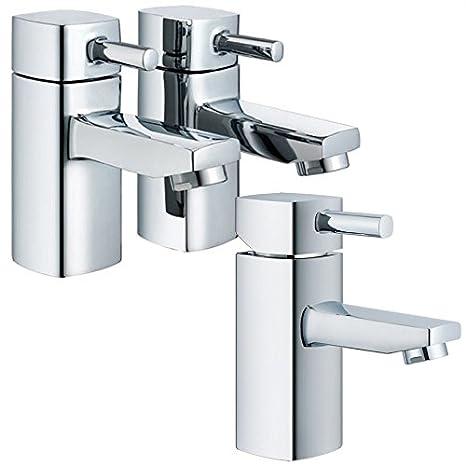 Amazon.com: Modern Rounded Edge Square Design Hot+Cold Bath Taps ...