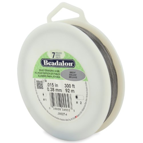 Beadalon 7-Strand Bead Stringing Wire, 0.015-Inch, Bright, 300-Feet