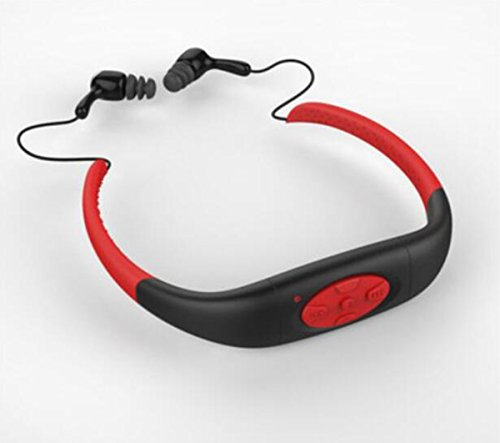 Hzhy Swimming Waterproof MP3 Headphone Player Sports Running Fitness Diving Swimming MP3 Headset Wireless Headphones (Capacity : 8G, Color : Red)