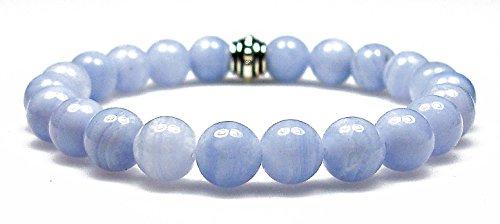 Blue Agate Artisan Gem - BLUE LACE AGATE 8mm Round Genuine Crystal Gemstone Beaded Bracelet on Elastic Cord