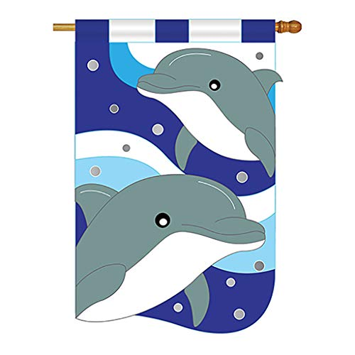 Two Group - Dolphins Coastal - Everyday Sea Animals Applique Decorative Vertical House Flag 28
