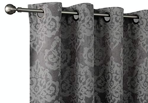 Pottery Navy (Regal Home Collections 2 Pack Premium Thermal Blackout Woven Jacquard Damask Curtain Panels for Bedrooms, Living Rooms & More - Assorted Colors (Charcoal))