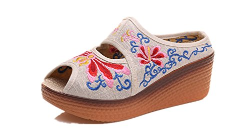 Tianrui Crown Women & Ladies The Dragonfly Embroidery Wedge Sandal Slipper Shoes