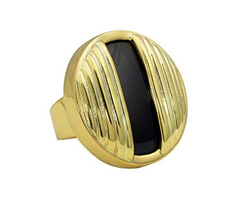 yuwei 24k Gold Plated Black Onyx Circle ()