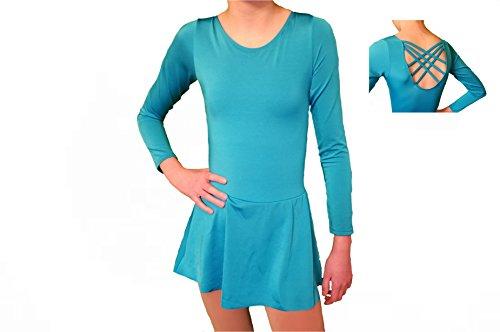 Homester Ice Figure Skating Dance Practice Dress Girls (Blue, 8)