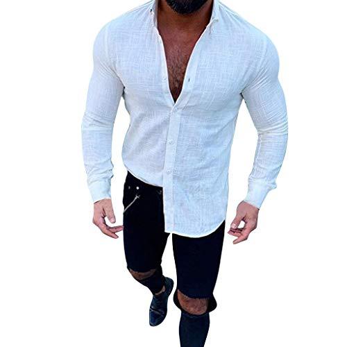 Men's New Slub Long-Sleeved Button-Lapel Top Fashionable Comfortable Linen Shirt White