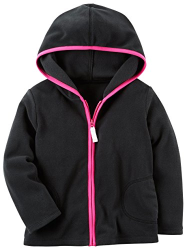 Carter's Girls Fleece Zip-Up Hoodie; Black With Pink Trim (6M) (Trim Jacket Hoodie)