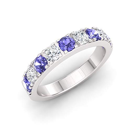 Diamondere Natural and Certified Tanzanite and Diamond Wedding Ring in 14K White Gold   1.12 Carat Half Eternity Stackable Band for Women, US Size 6