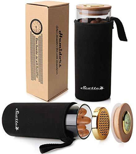 Scotte Cigar Case Humidor Gift Box Cigars jar humidifiers-Cigar Hygrometer humidifier-Travel Cigar Tube for 5 Cigars (Black)