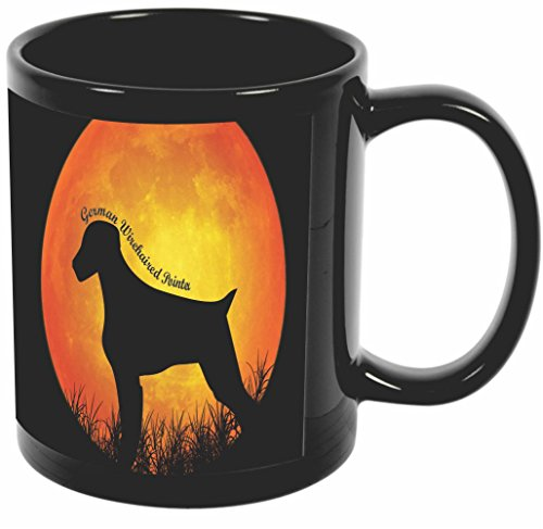 (Rikki Knight German Wirehaired Pointer Dog Silhouette By Moon Design 11 oz Photo Quality BLACK Ceramic Coffee Mugs Cups - Dishwasher and Microwave Safe)