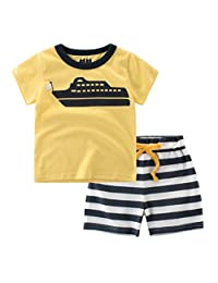 "Babylike""ship"" little boys shorts 2 Piece Pajama 100% Cotton(size:2-7 years)"