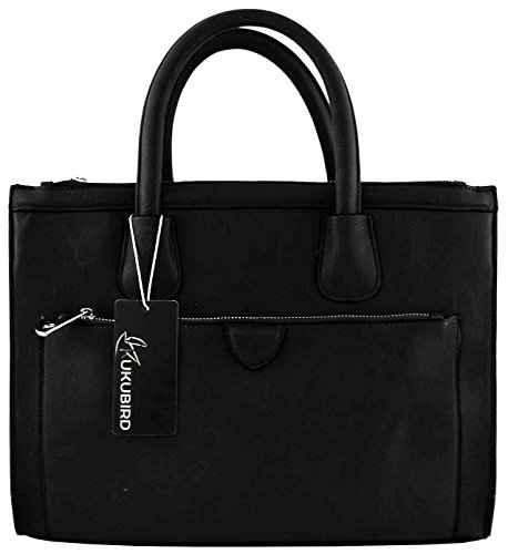 BLACK DESIGNER HANDBAG FAUX TOTE LEATHER DRAPE GOLD KUKUBIRD wvI0q