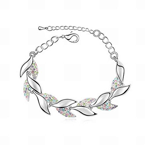 HOX Bohemian Sweet Diamond Leaf Bracelet Austria Crystal Bracelet Jewelry High-End Gold-Plated Allergy Jewelry, Multicolor