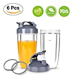 Replacement Cups with Flip Top To-Go Lid for NutriBullet 6-piece High-Speed Blender/Mixer, Gasket and 32oz Cups for Nutribullet