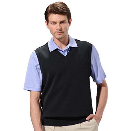 - Monterey Club Mens Classic French Rib Knit V-Neck Vest #1924 (Black, 3X-Large)