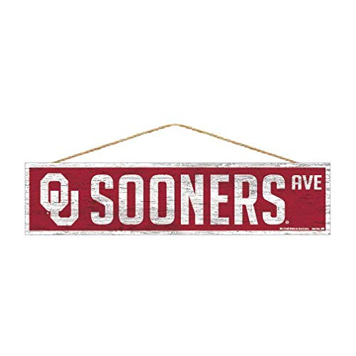 Wincraft NCAA Oklahoma Sooners Sports Fan Home Decor, Team Color, 4x17
