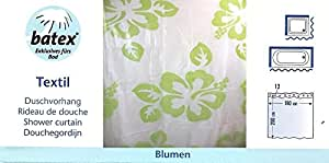 Cortina de ducha de vinilo Batex flores Flowers semitransparente Kiwi verde 180 x 200