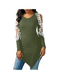 kingf Womens Casual Crochet Lace Long Sleeve Blouse Long Tops Shirt