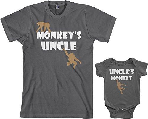 (Threadrock Monkey's Uncle Infant Bodysuit & Men's T-Shirt Matching Set (Baby: 12M, Charcoal|Men's: L, Charcoal))