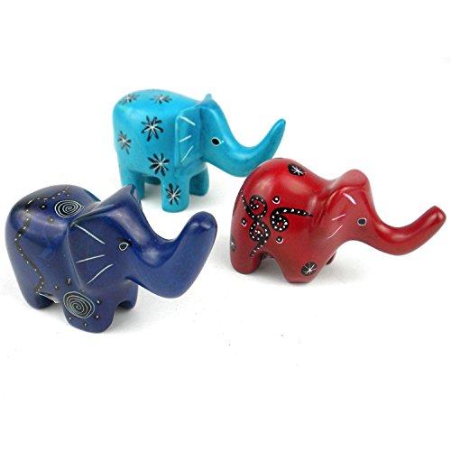 HomeCrafts4U Elephant Statue Zen Miniature Figurines Thai African Wild Animal Sculptures Handmade Hand Painted Tabletop Decor Safari Accent (Set of 3)