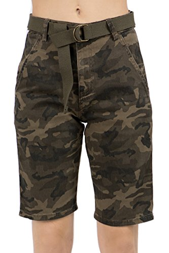 TwiinSisters Women's Side Stripe Camo Twill Bermuda Shorts with Comfort Stretch (XX-Large, Camo/White #Rss2051)