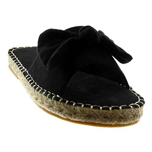 Sandaalit Espadrillokset Angkorly 2 Maali Johto Päällitikkaus Cm Solmu Kantapää on Musta Lohko Saumat Solmu Kengät Naisten Slip Muoti vt4ZqIR4