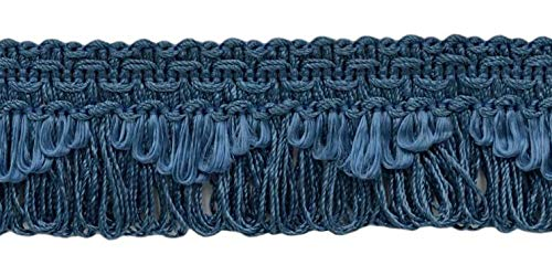 DÉCOPRO Decorative French Blue Scalloped Loop Fringe/Braid, 1 3/8 Inch, 10 Yard Value Pack, Style# 9115 Color: M45 (I14) (30 Ft / 9.1 ()