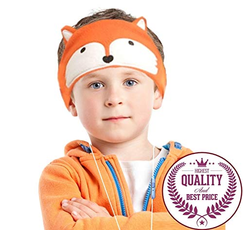 Charlxee Kids Headphones Cozy Foldable Headphone Headband Toddler Headphones for Air Travel or Home -Orange Fox (Kid Travel Headphones)