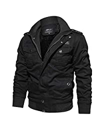 WOCACHI Mens Jackets Work Tactical Outerwear Breathable Zipper Pockets Coats