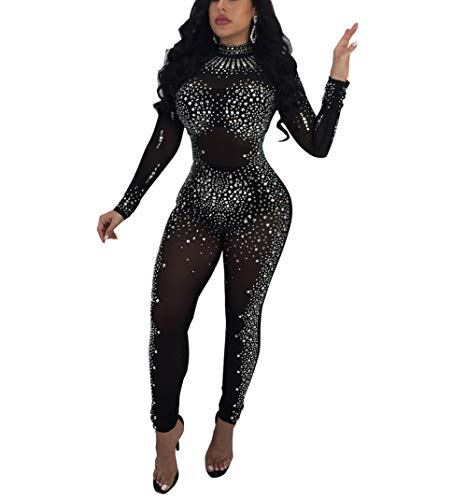 (Lunaya Womens Sexy Long Sleeve See Through Mesh Rhinestone Bodycon Jumpsuit Rompers Black Size)